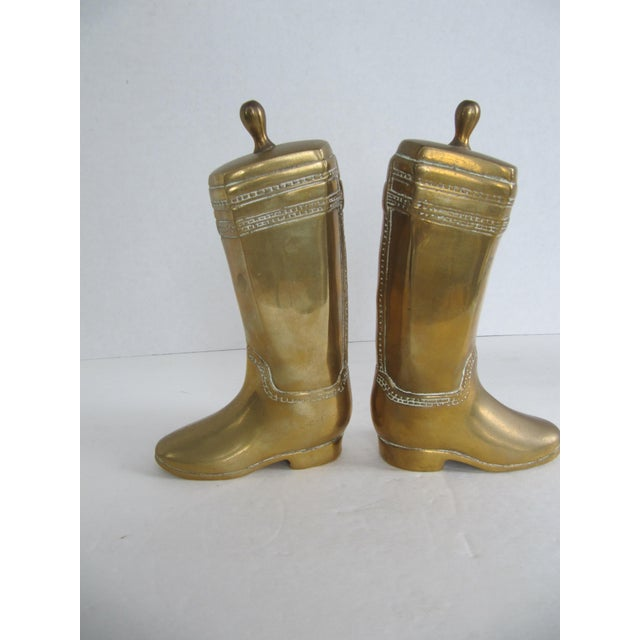 Vintage Brass Equestrian Boot Bookends - A Pair - Image 4 of 9