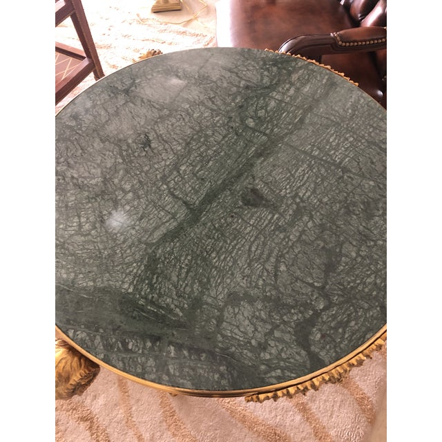 Bronze Dore and Green Marble Round Side Table For Sale - Image 4 of 9