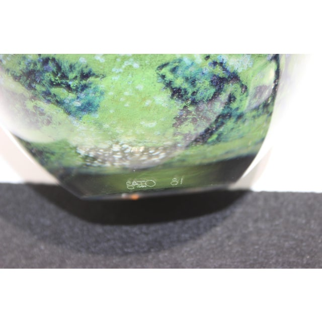 Vintage Murano Massimiliano Schiavon Thick Glass Artisan Bowl Signed Gaio 81 For Sale - Image 12 of 13