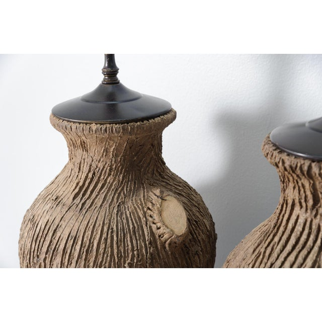 Vintage Faux Bois Pottery Lamps - A Pair For Sale - Image 5 of 8