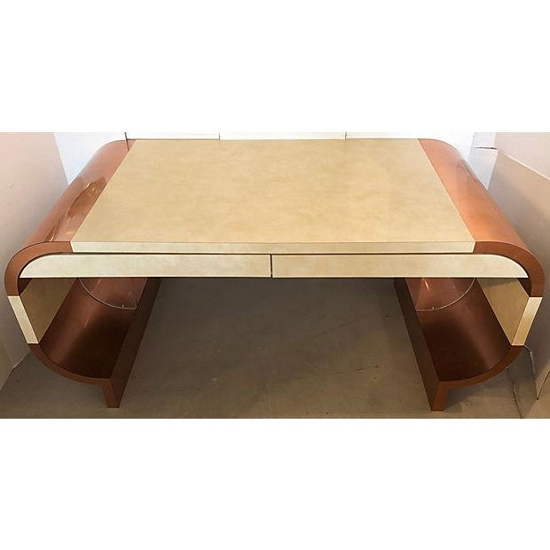 Mid-Century Modern Faux Leather And Copper 1970's Desk For Sale - Image 3 of 10