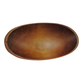 1800s Antique New England Black Ash Wood Large Hand Hewn Trencher Bowl For Sale