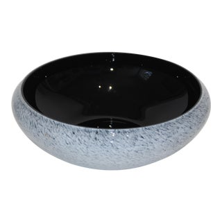 Murano Glass Bowl Black Interior With Grey Splatter Exterior 1970s For Sale