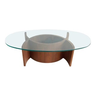 Mid-Century Sculptural Walnut & Glass Coffee Table