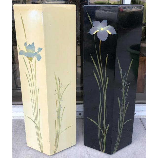 Mid-Century Modern Oriental Hand Painted Pedestals - A Pair For Sale - Image 3 of 9