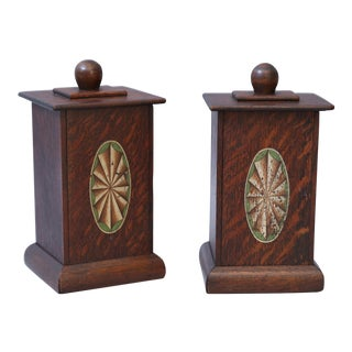 English Oak Lidded Boxes with Faux Inlay - A Pair For Sale