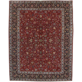 20th Century Persian Kashan Area Rug - 10′7″ × 13′6″ For Sale