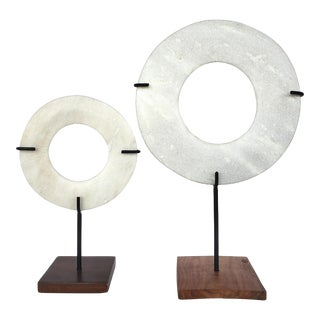 Vintage Marble Sculptures on Iron Stands - a Pair For Sale