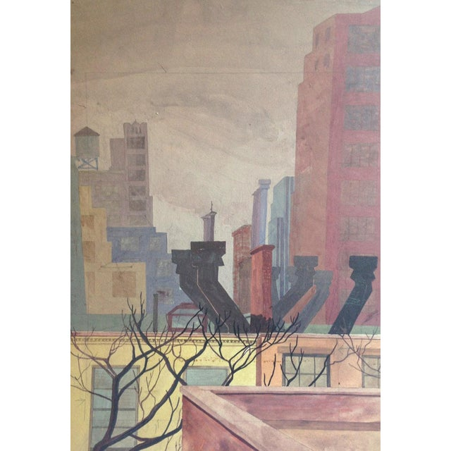 Original Mid-Century Rooftops Painting For Sale