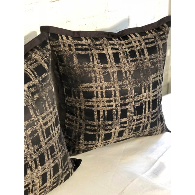 """Pair of 20"""" Black and Gilt Silk Pillows by Jim Thompson For Sale - Image 4 of 11"""