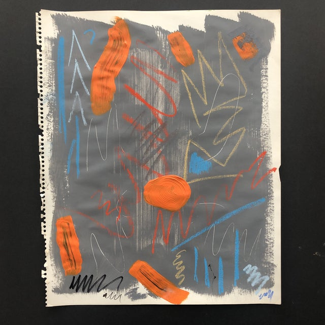 Abstract Painting With Pastel 1990s For Sale - Image 11 of 11