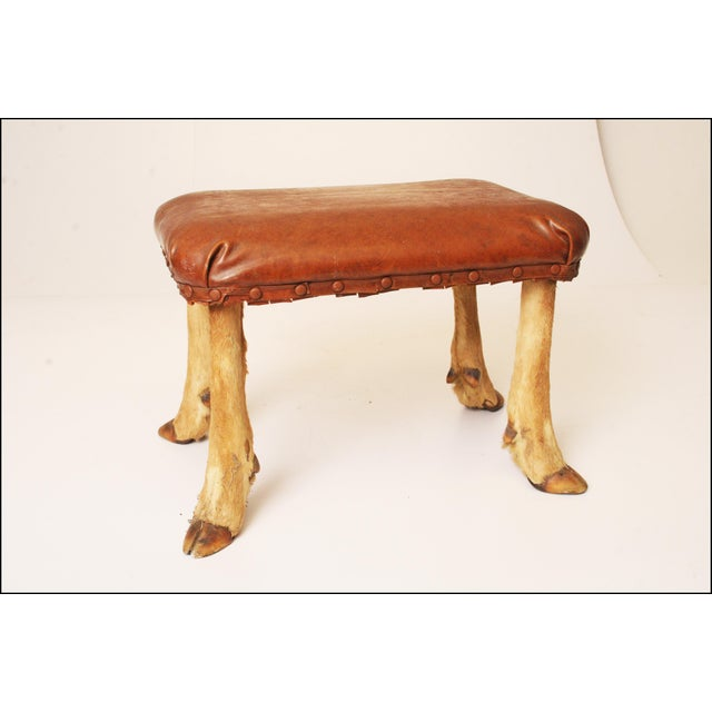Vintage Brown Vinyl Foot Stool - Image 7 of 11