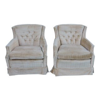 Mid-Century Tufted Living Room Side Chairs - a Pair For Sale