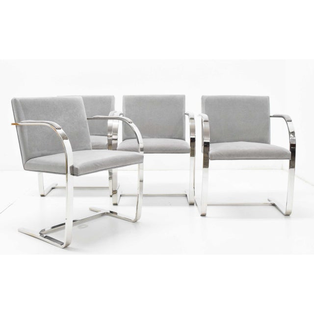 Mies Van Der Rohe Gray Suede Brno Chairs - Set of 4 For Sale - Image 9 of 9