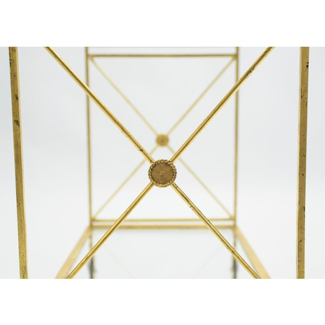 Gold French Neoclassical Maison Jansen Gilded Iron Bar Cart 1960s For Sale - Image 8 of 12