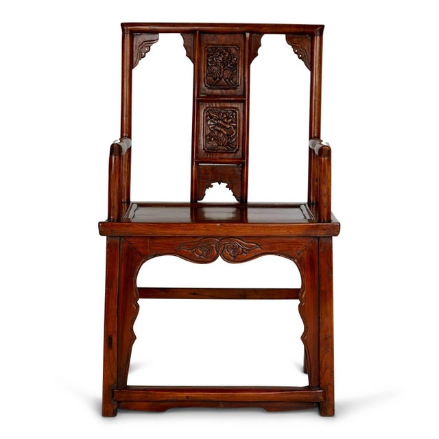 Pair of Chinese Carved Throne Armchairs For Sale - Image 4 of 11