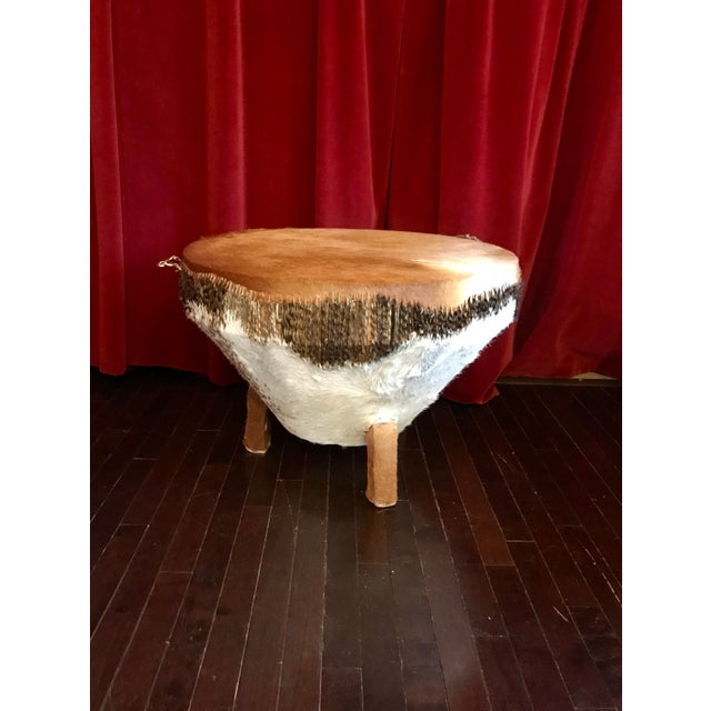 Animal Skin 1968 African Tribal Drum Table For Sale - Image 7 of 12