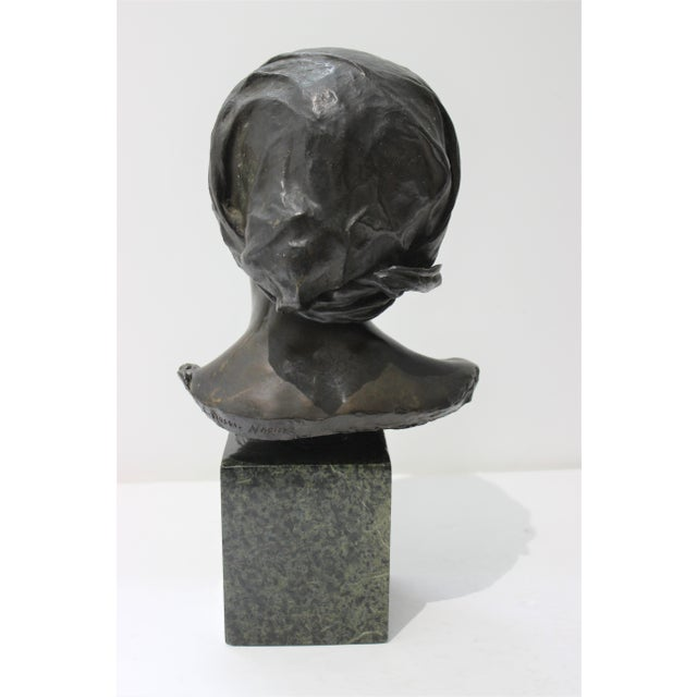 Antique Edouard Rossi of Naples.Bronze Sculpture of a Young Girl For Sale - Image 4 of 13