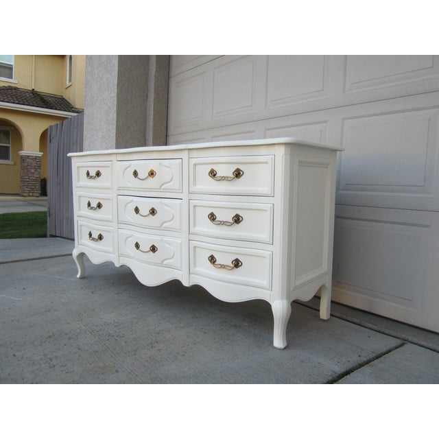 Drexel White Vintage French Country Dresser - Image 5 of 9
