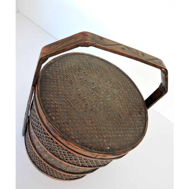 Vintage Woven Split Bamboo Carved Chinese Wedding Basket or Container For Sale - Image 4 of 7