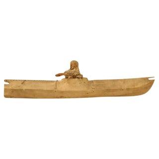 Seal Skin & Wood Inuit Kayak Figure