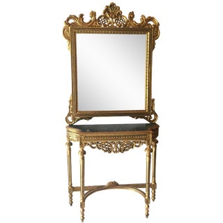 Gilt &Marble Console Table & Mirror For Sale