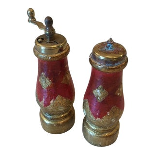 Vintage Acciaio Garant Florentine Salt & Pepper Shakers For Sale