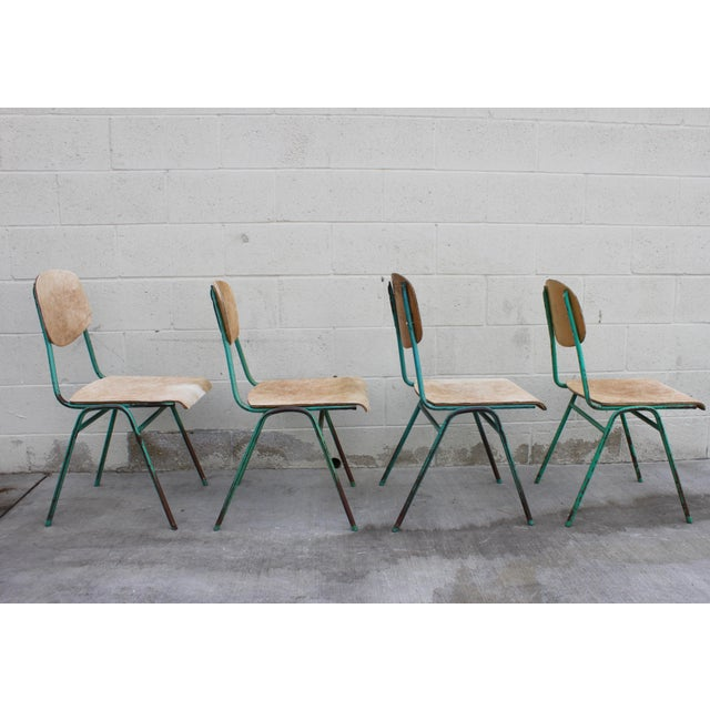Vintage French Stacking Steel, Bentwood and Leather Schoolhouse Dining Chairs - Set of 4 For Sale In San Diego - Image 6 of 11