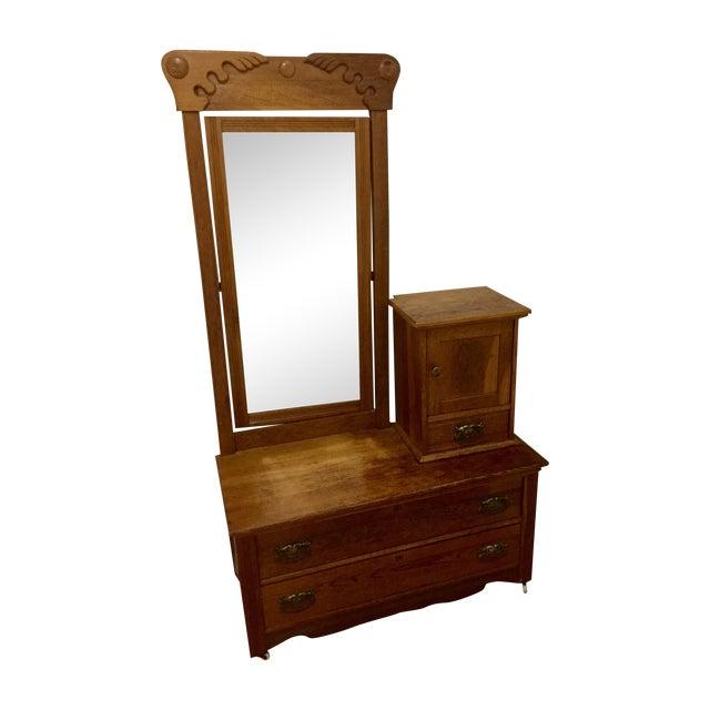 Antique Carved Oak Dresser with Mirror - Image 1 of 4