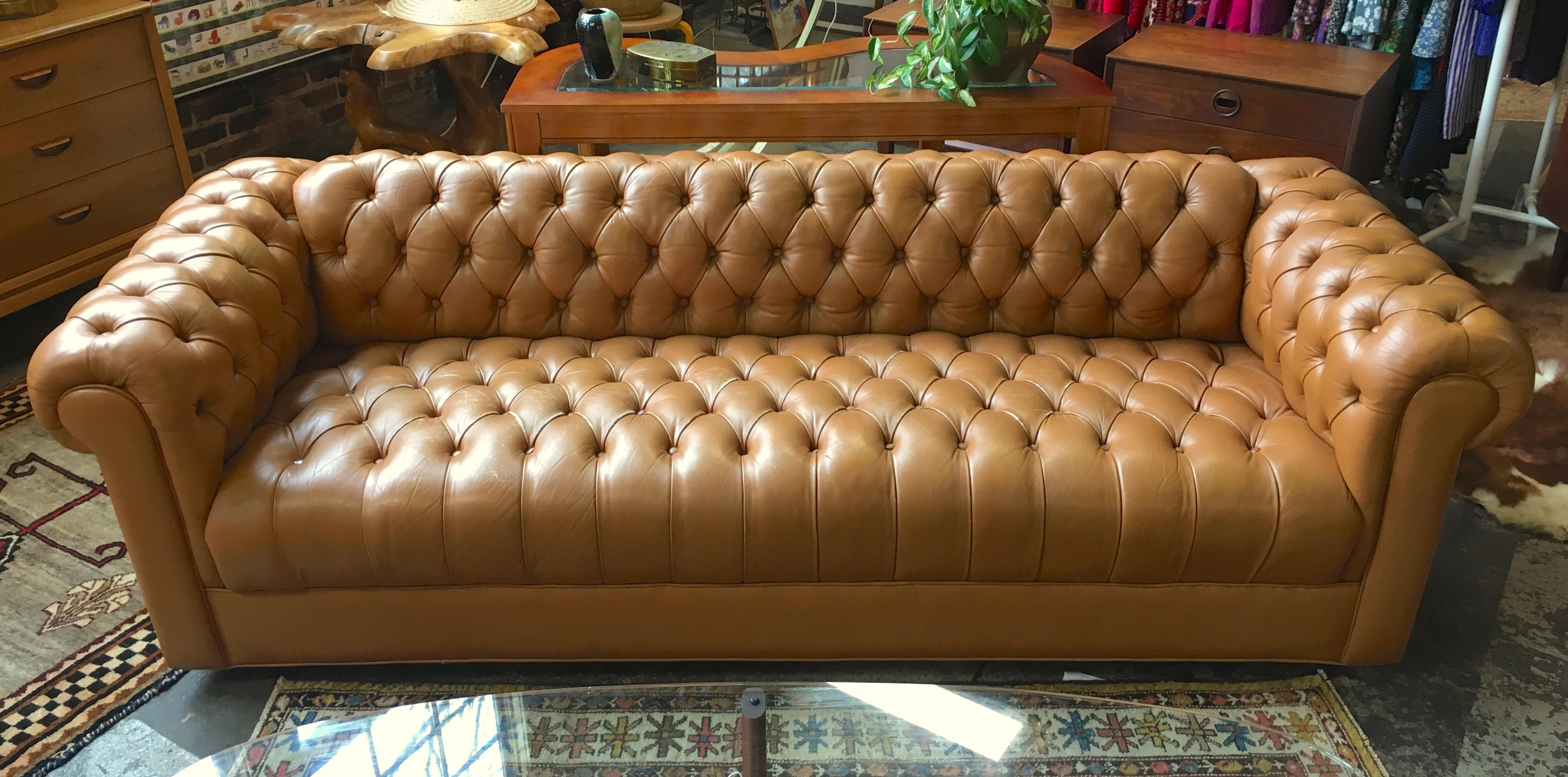 Awesome Cognac Leather Tufted Chesterfield Sofa   Image 6 Of 6