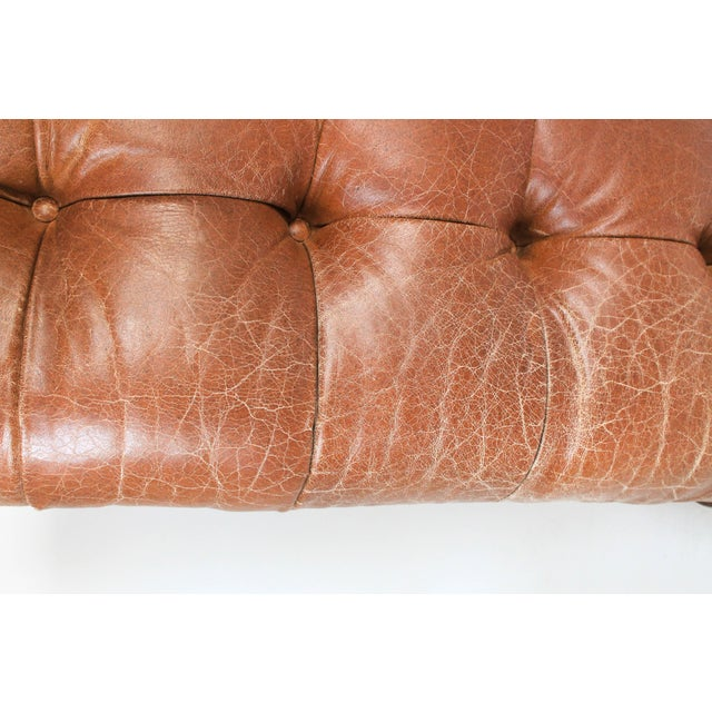 Large Leather Tufted Ottoman For Sale - Image 4 of 7