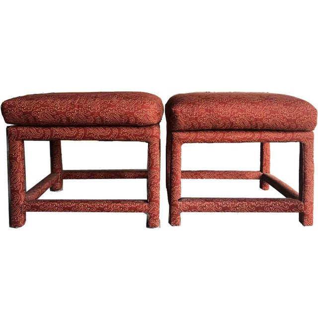 Red 1970s Milo Baughman for Thayer Coggin Parsons Stools- a Pair For Sale - Image 8 of 9