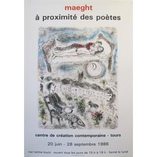 1986 Original French Exhibition Poster, à Proximité Des Poètes - Chagall For Sale