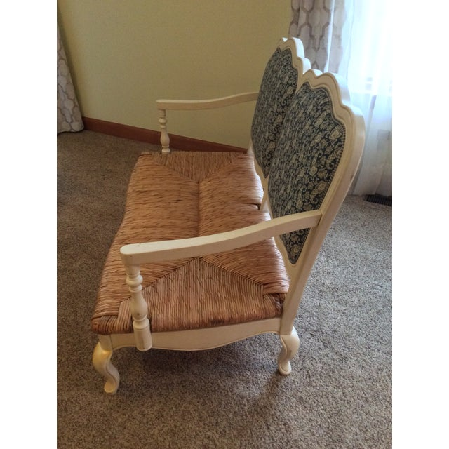 Antique Styled White Country French Provential Rush Seat Settee For Sale - Image 4 of 13