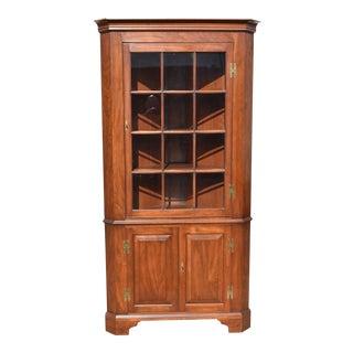 Henkel Harris 1114h Wild Black Cherry Fairfax 12 Pane Corner Cabinet For Sale