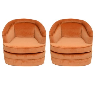 Harvey Probber Swivel Barrell Back Club Chairs 1960s