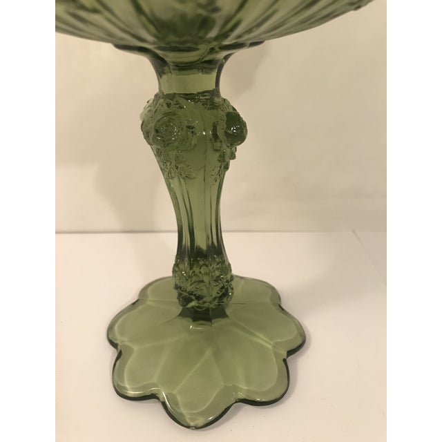 1940s Fenton Cabbage Rose Colonial Green Glass Footed Candy Dish Compote For Sale - Image 5 of 6