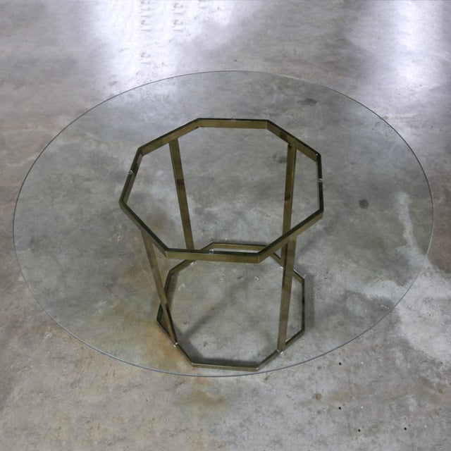 Late 20th Century Milo Baughman Style Octagon Brass Plated Metal Dining Table With Round Glass Top For Sale - Image 5 of 12