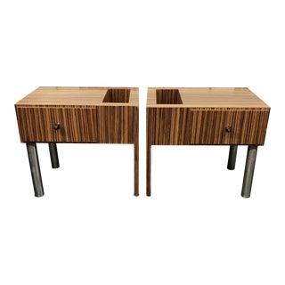 Custom Zebra Wood Modern Side Tables For Sale