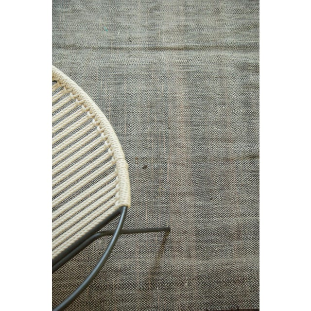 """Gray Vintage Flatwoven Reversible Wool Rug - 4'2"""" X 6'5"""" For Sale - Image 8 of 8"""