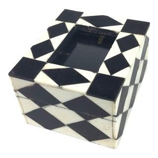 Art Deco Black and White Photo Frame Trinket Box For Sale