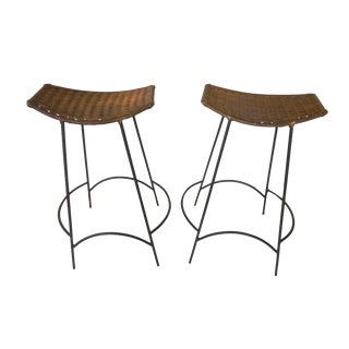 1960s Arthur Umanoff Iron and Wicker Bar Stools - a Pair