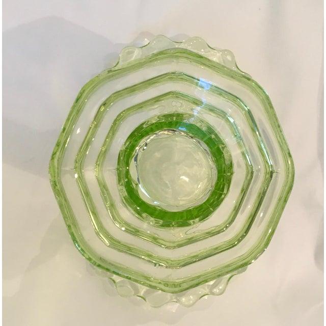 """Vintage 1930s Art Deco Uranium Green Glass """"Manchester Basket"""" Vase - Image 10 of 10"""