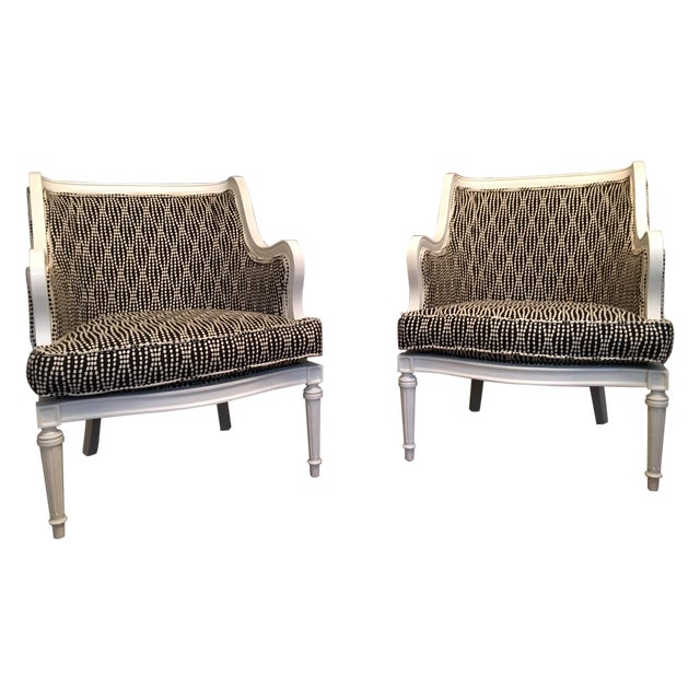 Louis XVI Lacquered Black and White Chairs - Pair - Image 1 of 6