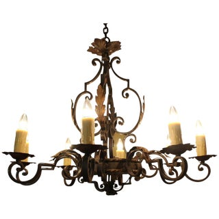Antique French Iron Six-Light Chandelier For Sale