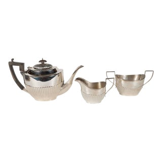 Elegant Art Deco Sterling Silver Coffee Service by Ryrie with Ebony Handles