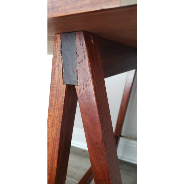 20th Century Campaign Mahogany Writing Desk With Sawhorse Legs For Sale - Image 4 of 5