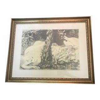 """1967 Vintage Picasso """"Faune Et Femme Nue"""" Lithograph Print For Sale"""