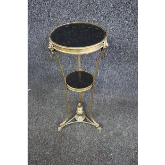 Late 20th Century Regency Style Brass & Marble Gueridon Table For Sale - Image 5 of 8