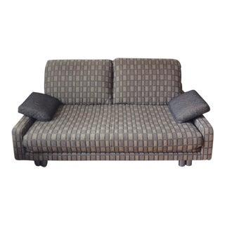 Ligne Roset Gray Tan Printed Upholstered Sofa / Sleeper